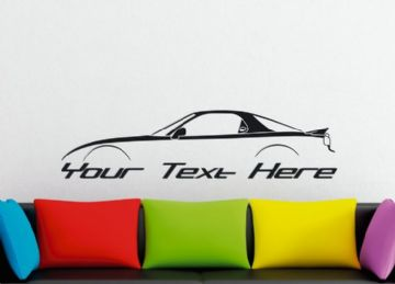 Large Custom car silhouette wall sticker - for Mazda RX7 , FD (3rd gen) | rotary turbo